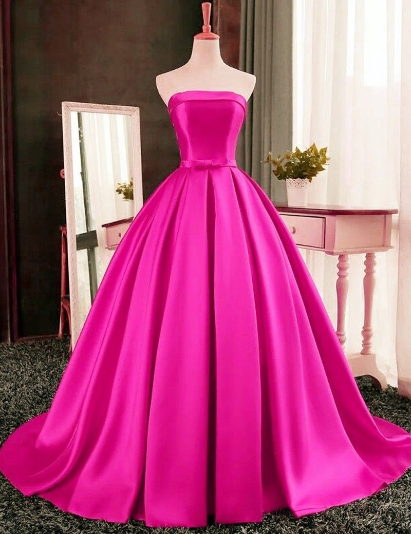 Pink Satin Floor Length Prom Gown Featuring Strapless Straight ...