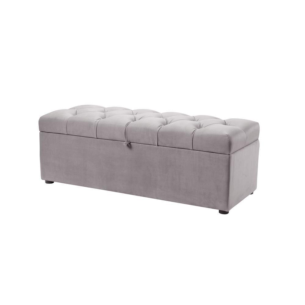 Jennifer Taylor Arlo Tufted Opal Grey Storage Bench Opal Grey Velvet Upholstered Storage Tufted Storage Bench Grey Storage Bench