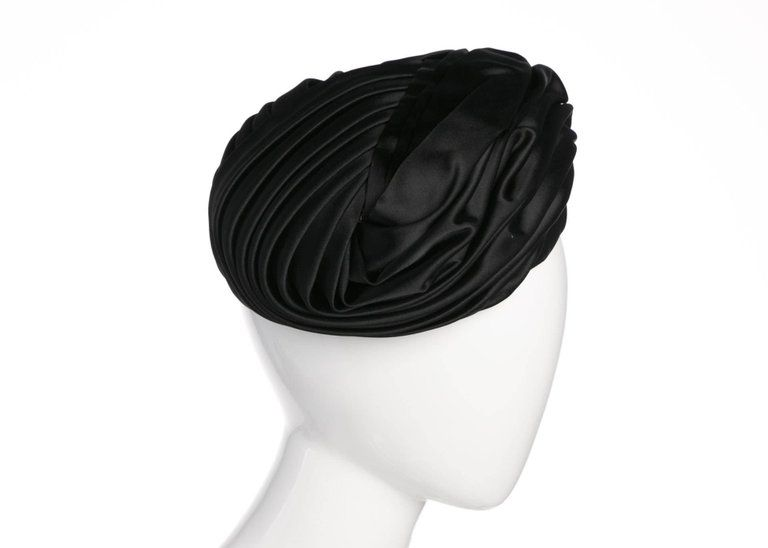 3ab43d62714 Vintage Christian Dior Black Silk Satin Turban hat 2