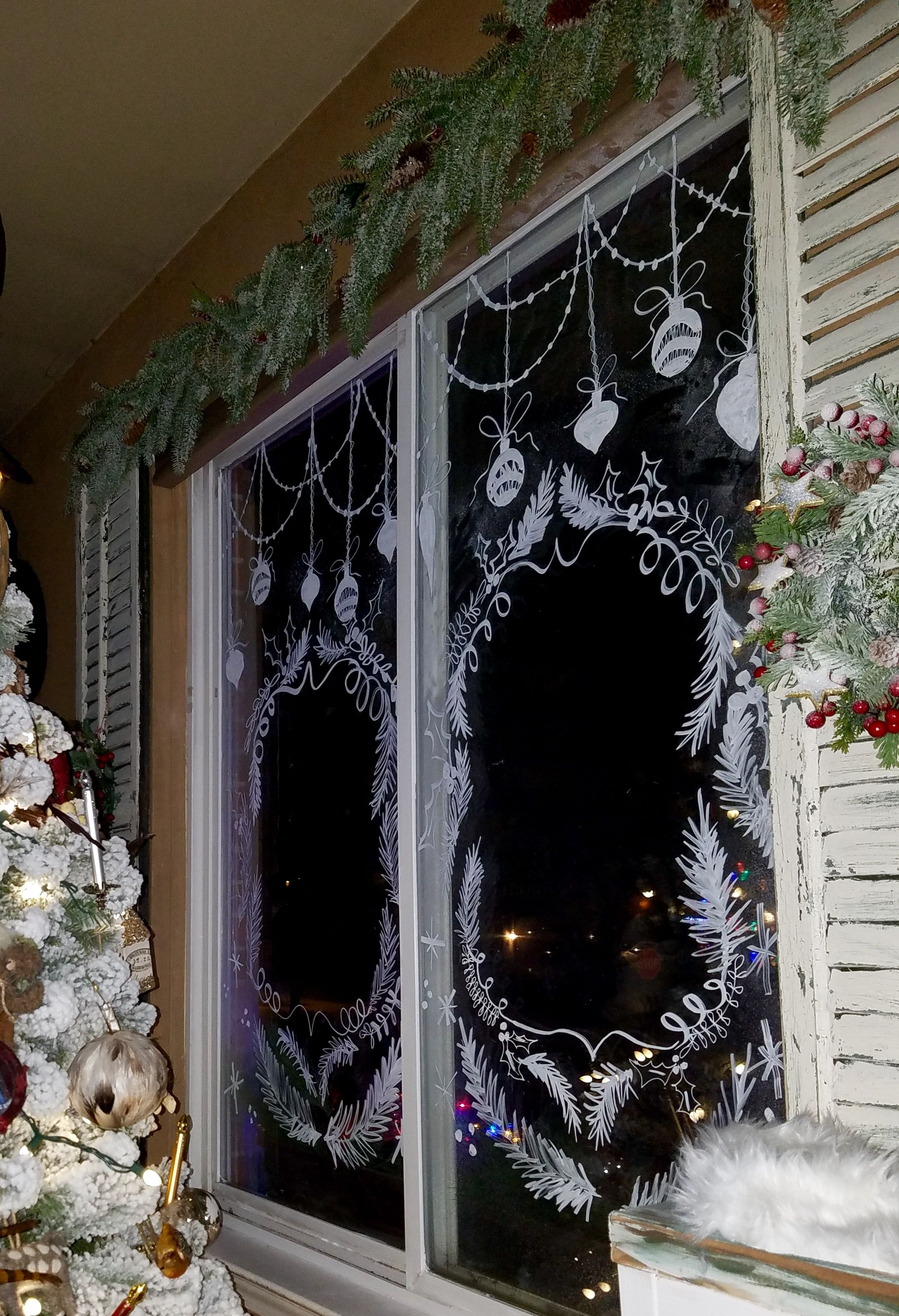 Window Chalk Art Christmas Design