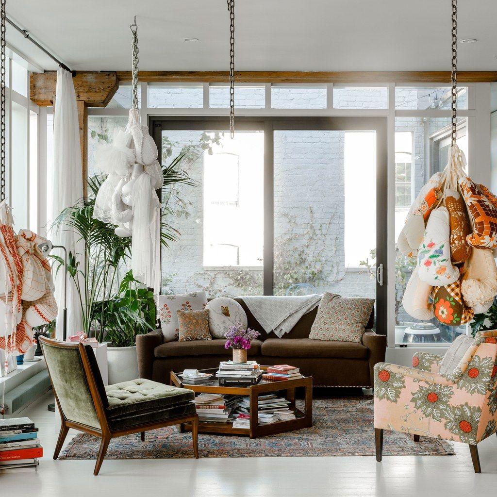 Artist Zoe Buckman S Brooklyn Loft Embodies Her Creative Outlook Ny Loft Architectural Digest Loft Style Living room ny lyrics