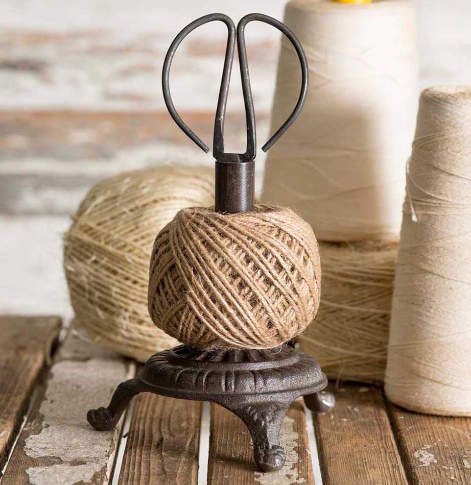 Cast Iron Scissors Twine Stand Kitchen Shear Jute String Vintage Style Craft Set