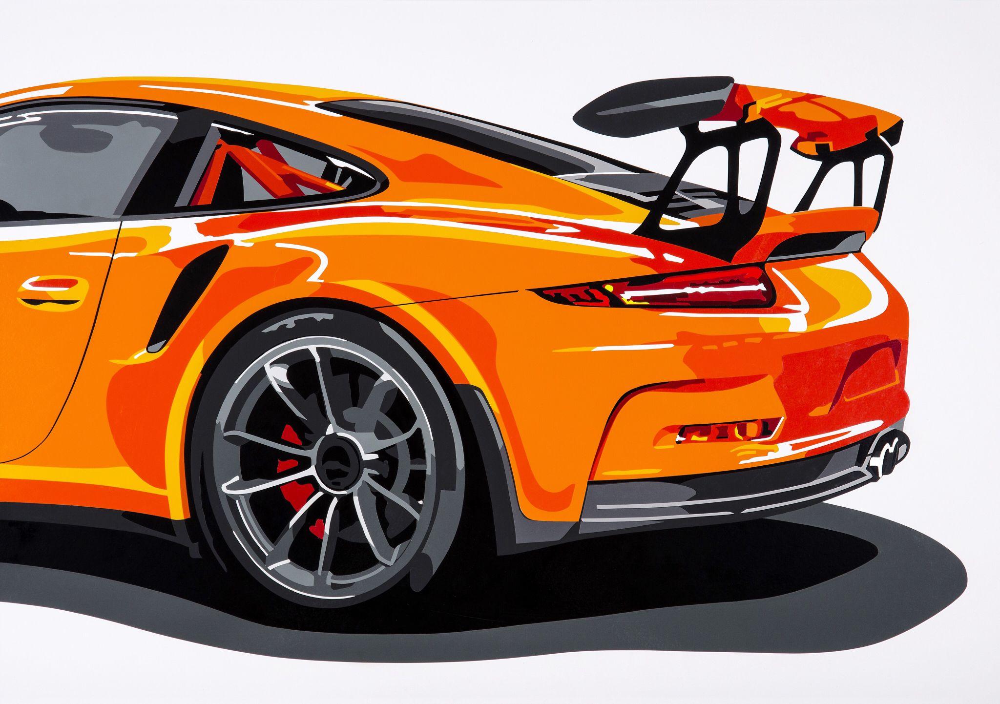 Porsche gt3rs hand cut vinyl on a2 white card dessin - Dessin de porche ...