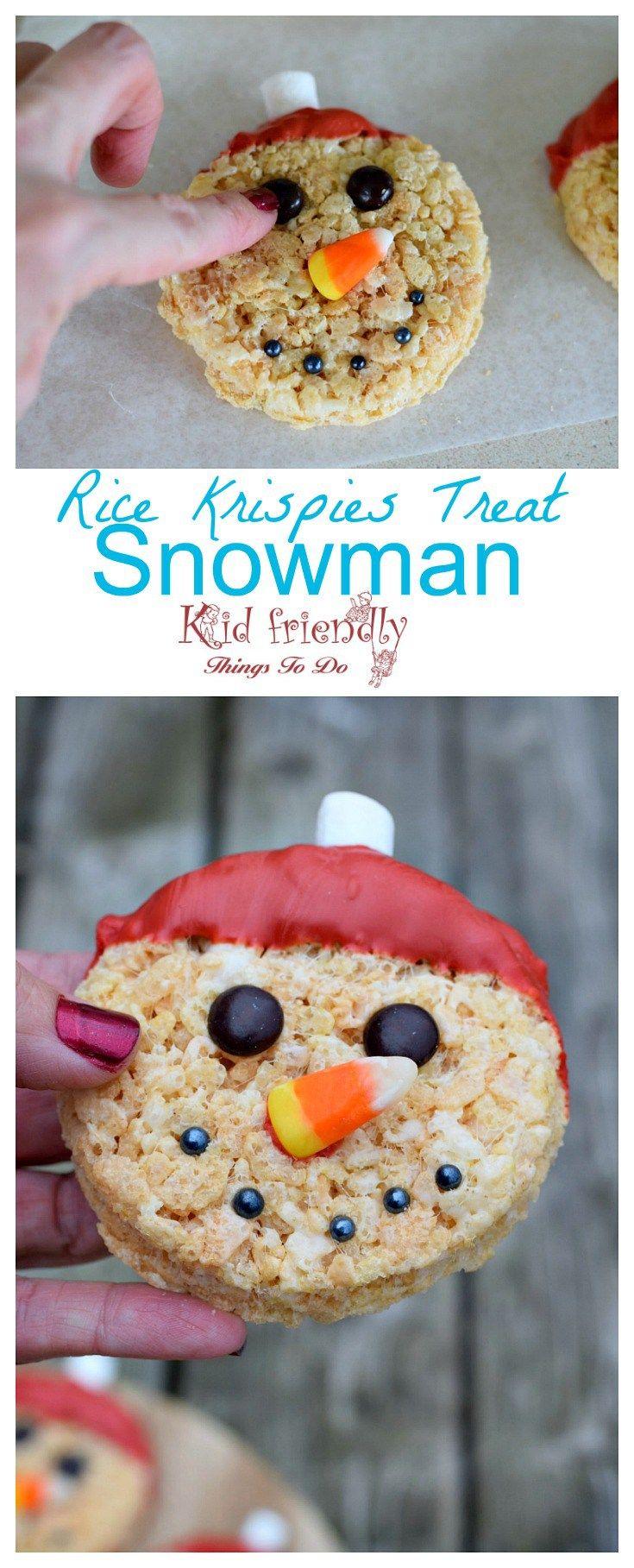 Snowman Rice Krispies Treats for a Fun Food Treat #ricekrispiestreats