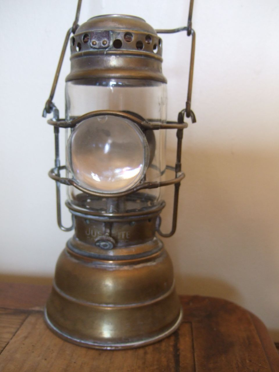 Antique Justrite Lantern Miner S Hand Lamp With Bullseye Reflector Oil Lamps Lamp Old Lanterns