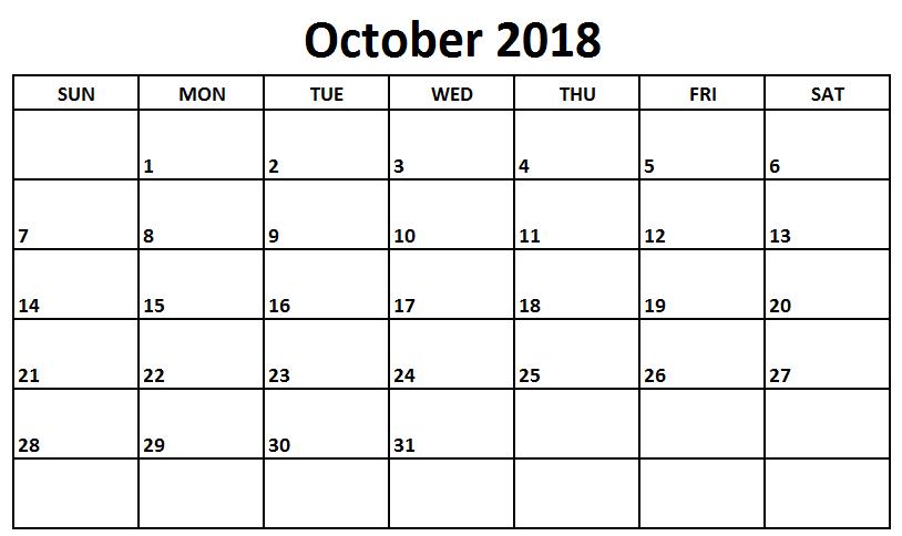 Print October 2018 Pdf Calendar October 2018 Calendar Calendar