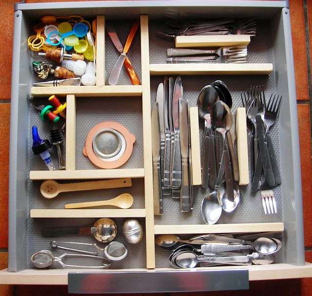 Ikea Drawer Organizer Made From Wood, Glue, And A Drawer Liner, Perfectly  Sized