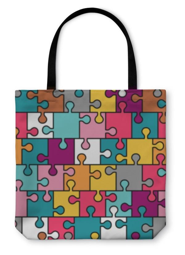 Tote Bag, Colorful Puzzle P...