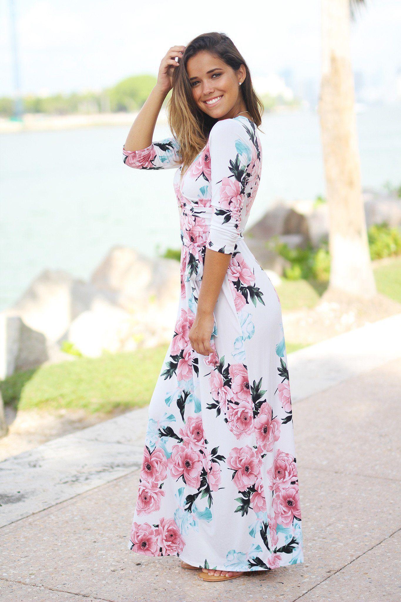 Bright color wrap dress maxi