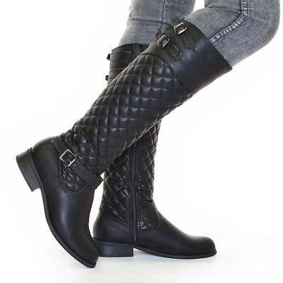 Womens Biker Wedge Heel Knee High Tall Boots Sz 5-10