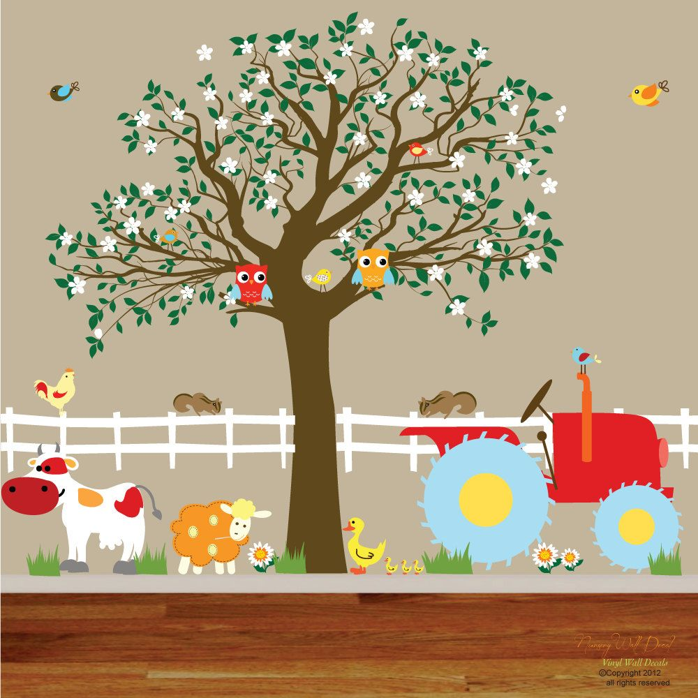 Vinyl Wall Decals Farm Set Tree with Barn,tractor,fence