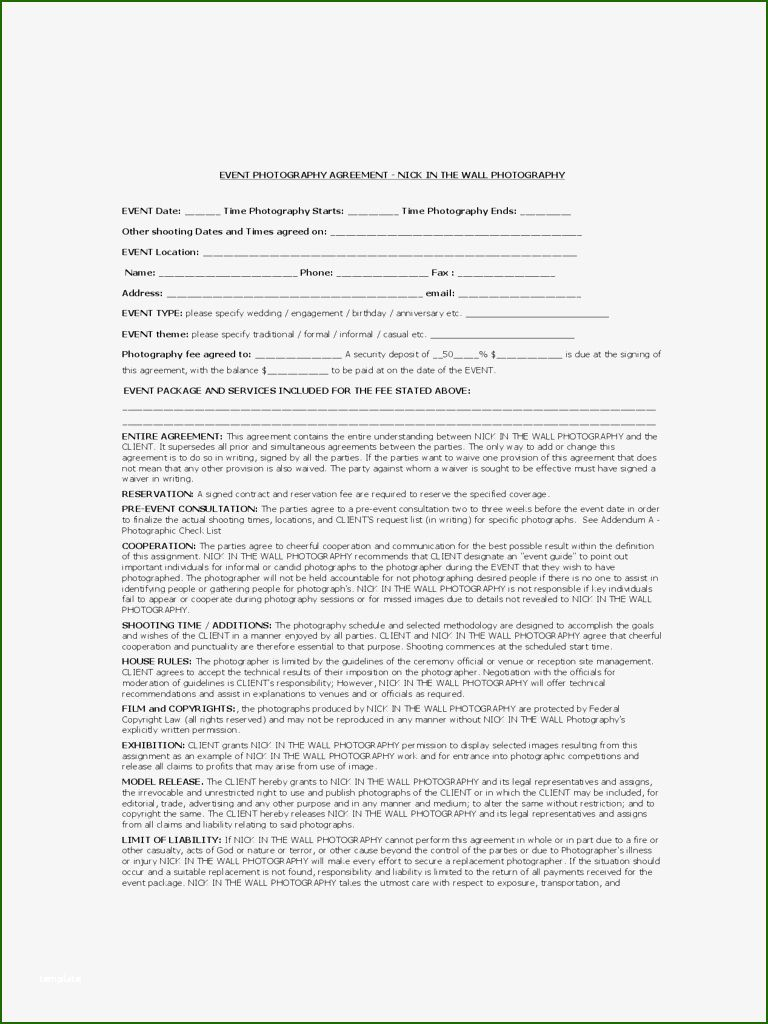 11 Attractive Event Photography Contract Template Photography Contract Event Photography Contract Template