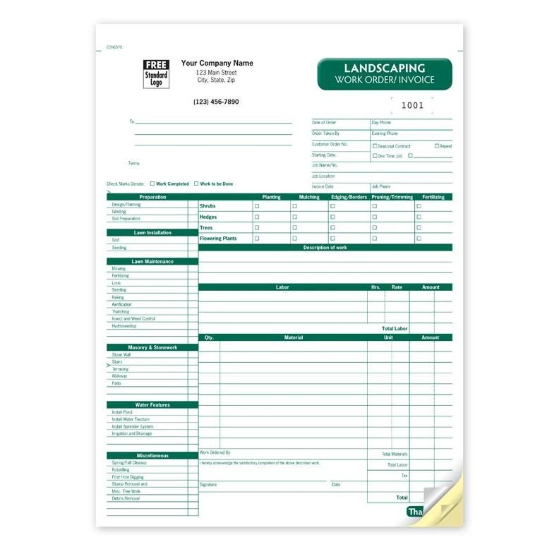Landscaping Work Order Invoice  Yard