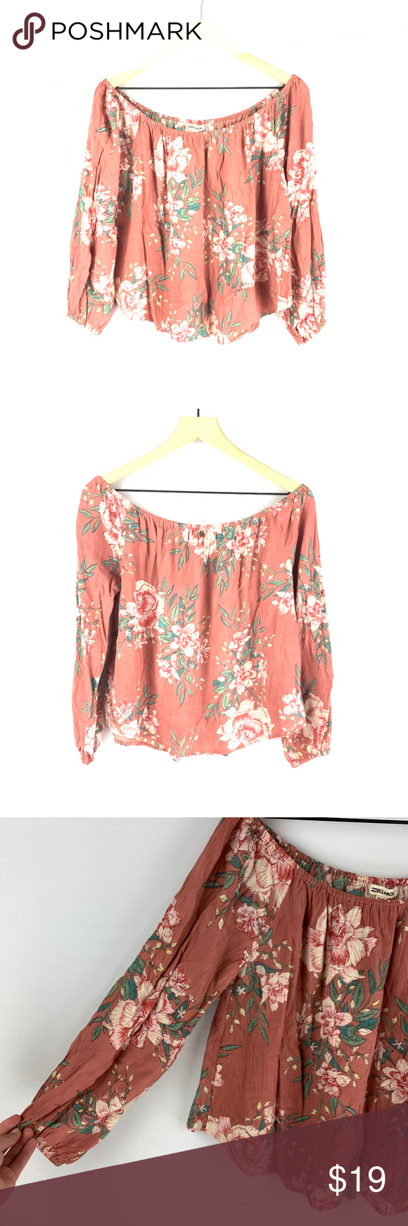 """Billabong Pink Floral Mi Amore Off Shoulder Top L Features:  - Rounded hem line  - Floral print pattern  - Off shoulder style  - Flowy body  - Stock photo is of the shirt in a different print for reference  Size: Large Colors: Pink, Off White, Green, Yellow Flaws: None, very good condition Fabric Content: 100% Rayon  Measurements: - Length: 18.5""""  - Bust: 23""""  Measurements are approximate and taken laying flat.    A1794 Billabong Tops Blouses"""