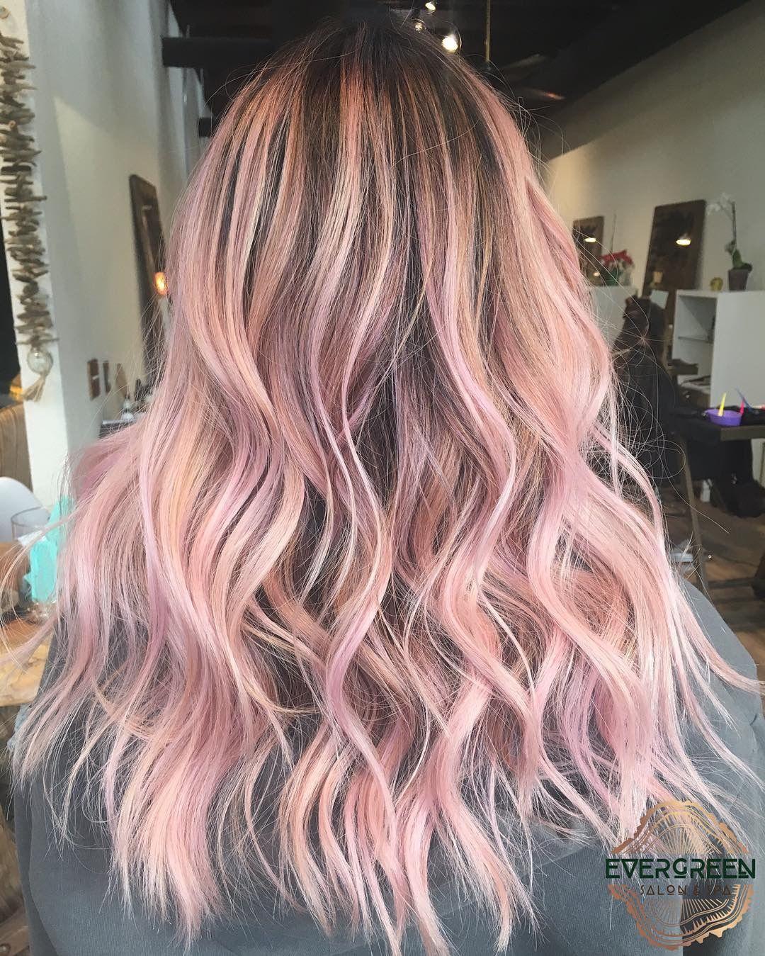 Pink Color Pastel Hair Medium Long Length Wavy Curls Light Pink Hair Hair Styles Medium Hair Styles