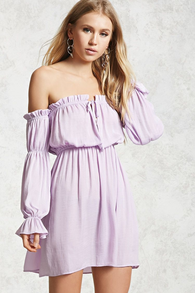 788a741fbb378 Forever 21 Contemporary - A textured satin mini dress featuring an  elasticized ruffled off-the-shoulder neckline