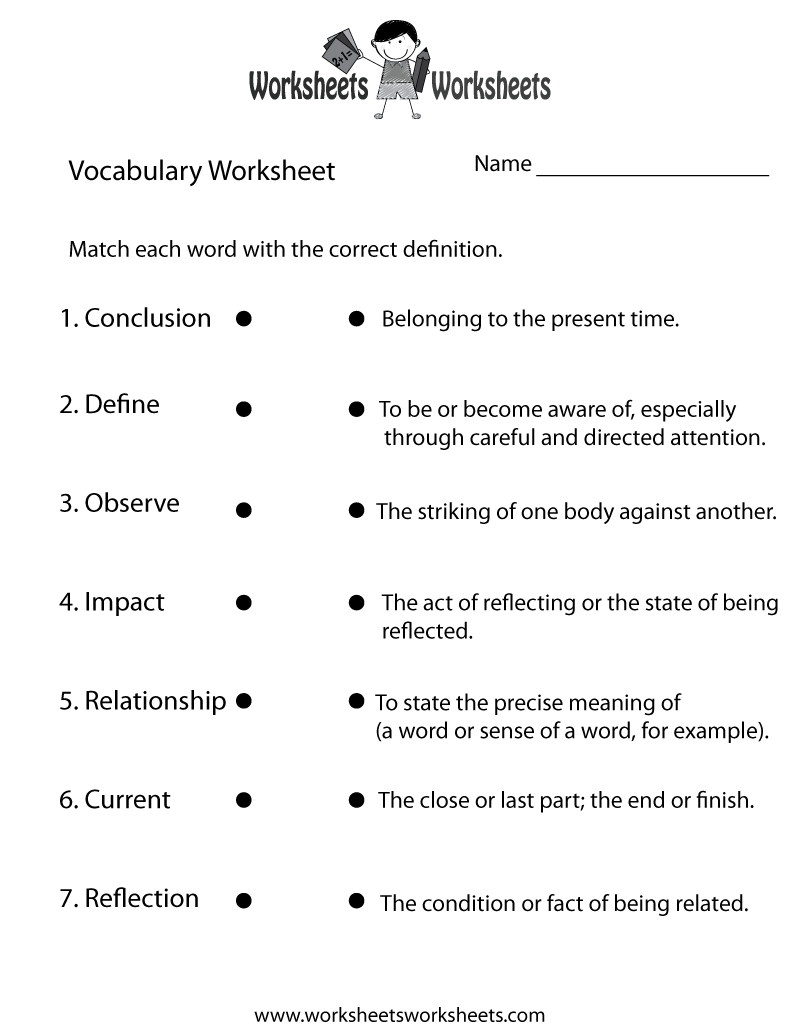 English Vocabulary Worksheet Printable – Kindergarten Vocabulary Worksheets