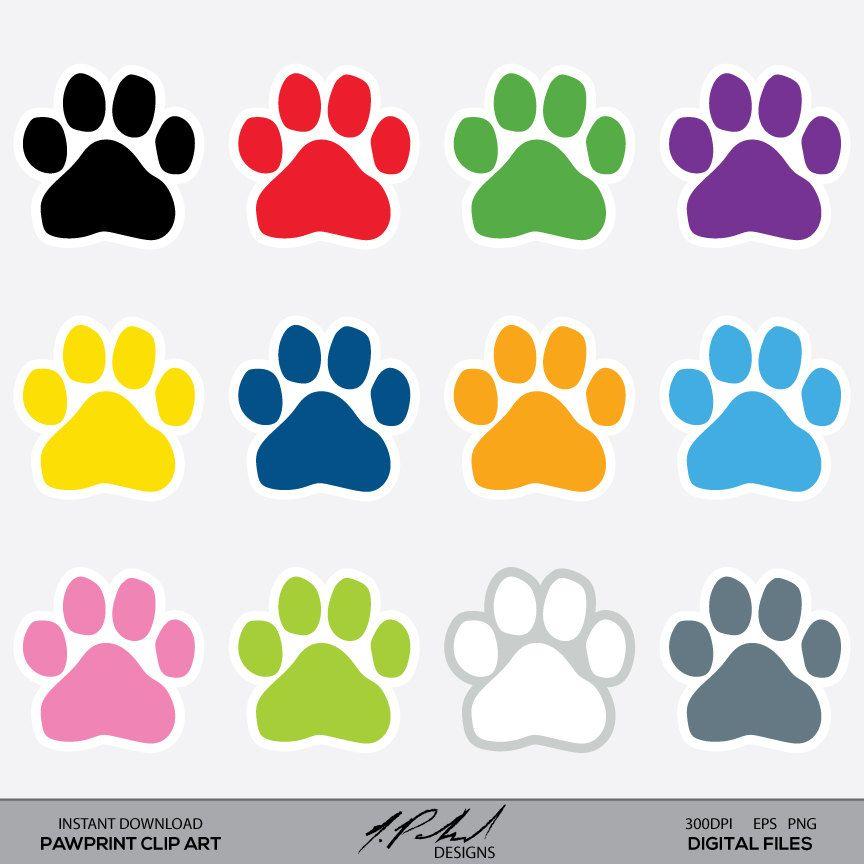 Paw Prints Digital Clip Art Paw Print Clipart Instant Etsy In 2020 Paw Print Clip Art Clip Art Digital Clip Art