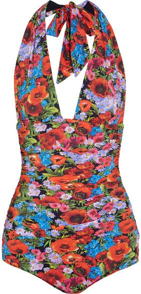 Dolce & Gabbana - Printed Ruched Halterneck Swimsuit - Red