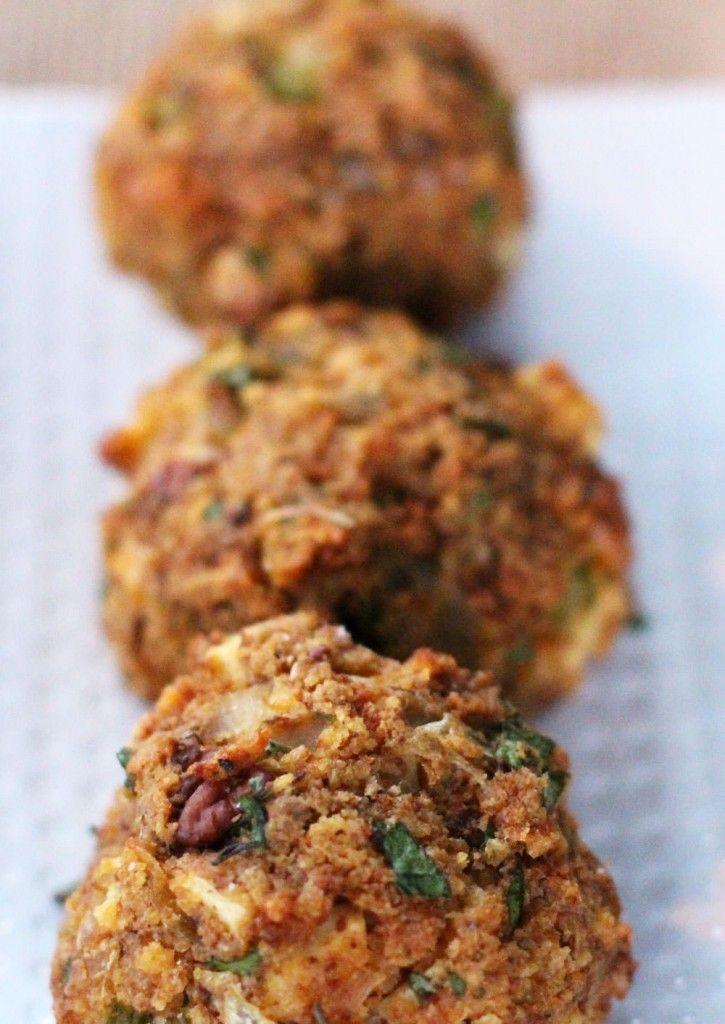Cornbread stuffing balls for Thanksgiving