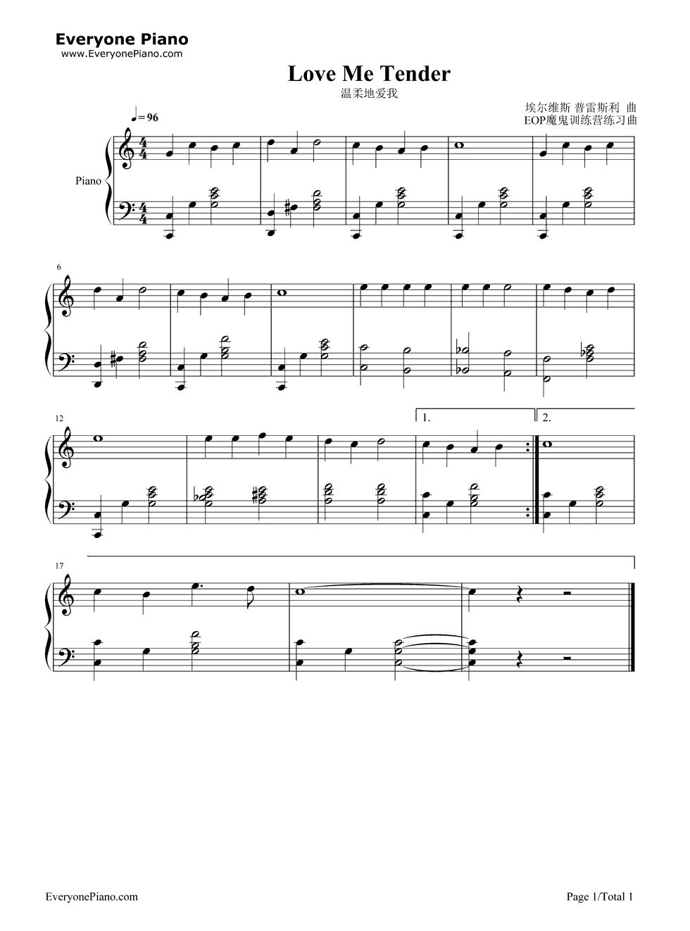 Love me tender stave preview 1 free piano sheet music piano love me tender stave preview 1 free piano sheet music piano chords hexwebz Gallery