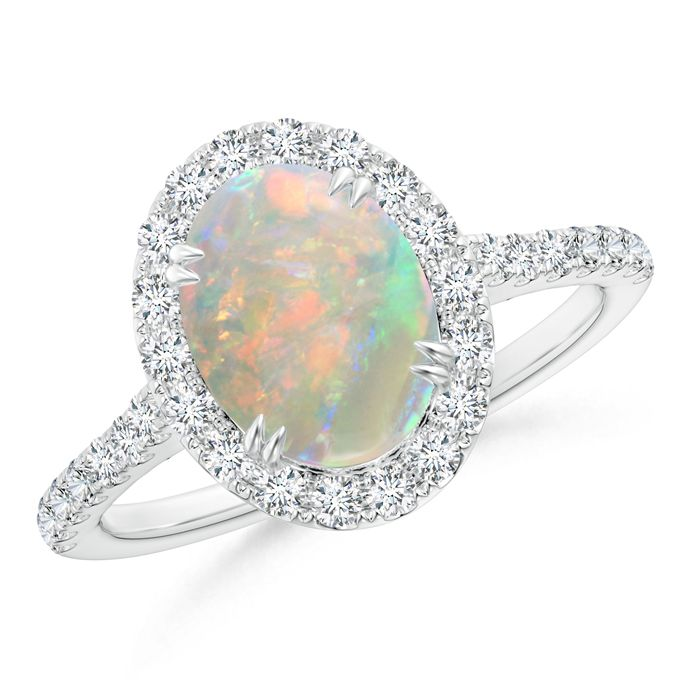 Angara October Birthstone Opal Engagement Ring in White Gold
