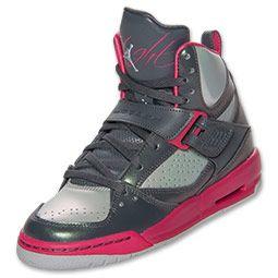 online store 1eeed ae214 Girls  Jordan Grade School Flight 45 High Basketball Shoes   FinishLine.com    Cool Grey Metallic Platinum Pink