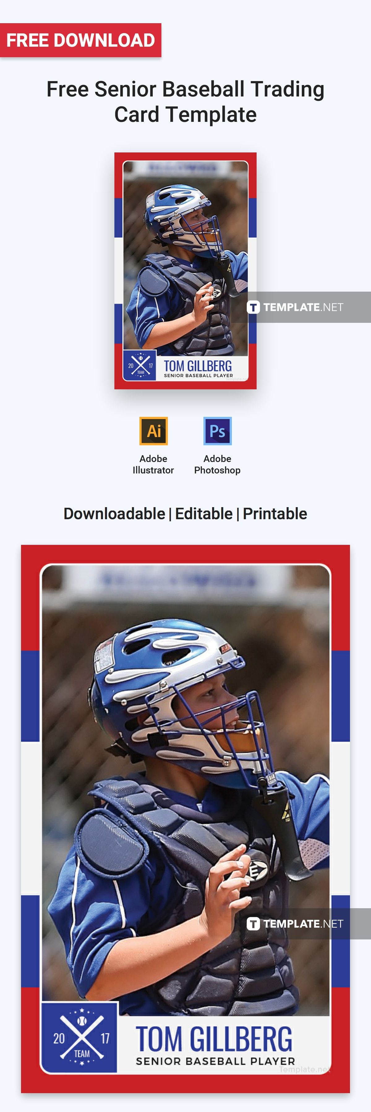 Free Senior Baseball Trading Card Template Word Doc Psd Apple Mac Pages Illustrator Publisher Baseball Trading Cards Trading Card Template Baseball Card Template