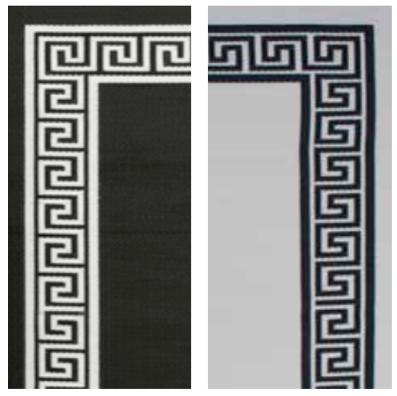 Liz Caan Interiors Black Cream Greek Key Border Rug