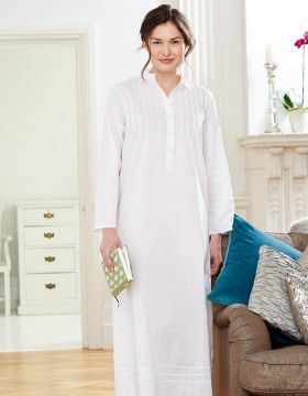 7844e35801 Victoria Long Sleeve Nightdress. Luxurious comfort and simple styling  combine in this long loose-fitting nightdress in fine cotton lawn.