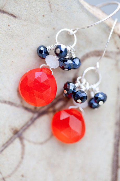 Fire Coral Earrings bright beach wedding navy by beesandbuttercups, $37.00