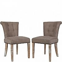 Lexi Dining Chairs (Pair) in Parisian Tan-Gray Velvet (set of two)