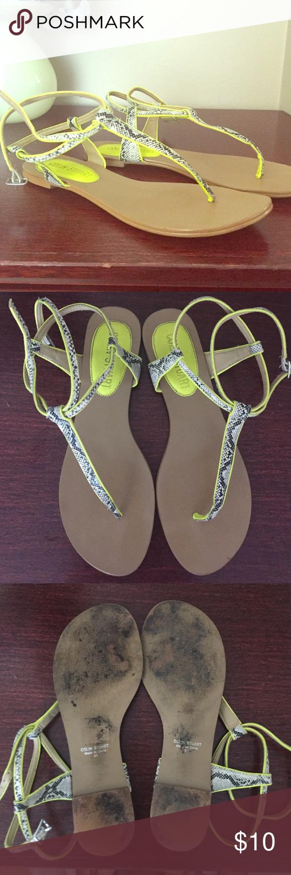 Colin Stuart sandals Great summer sandals! Yellow snakeskin design. Colin Stuart Shoes Sandals
