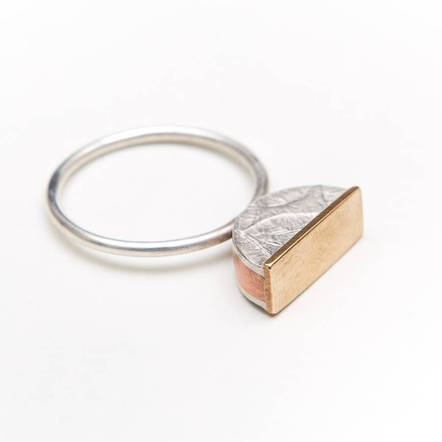 'standing tall' half round embossed ring by papermetal   notonthehighstreet.com