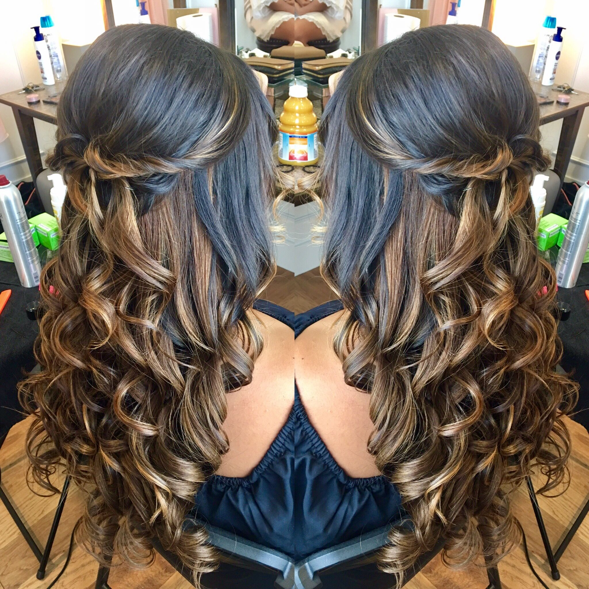 Twisted half up half down hairstyle   Hair styles, Half up ...