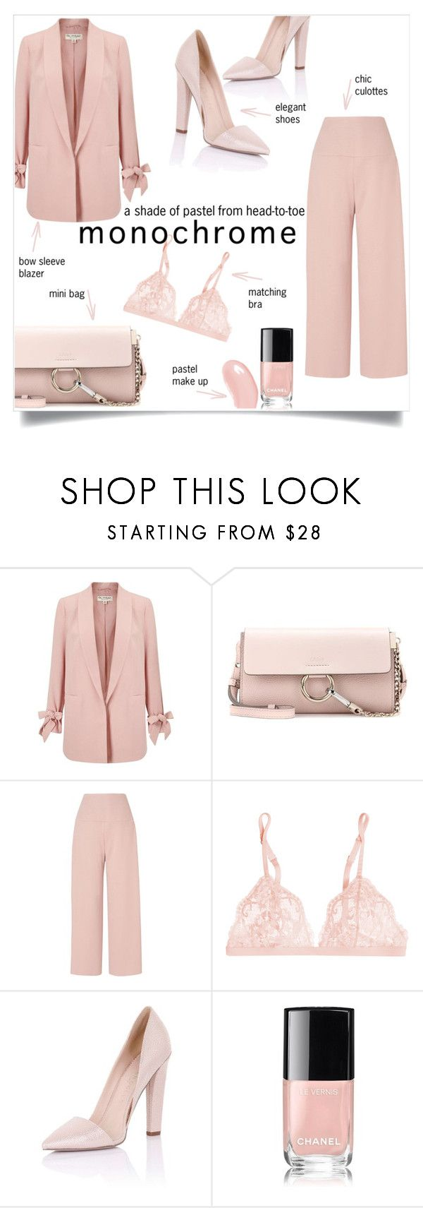 """""""Monochrome"""" by taniadeseptembre ❤ liked on Polyvore featuring Miss Selfridge, Chloé, L.K.Bennett, La Perla, Paper Dolls, Chanel, Christian Dior, monochrome and pastels"""