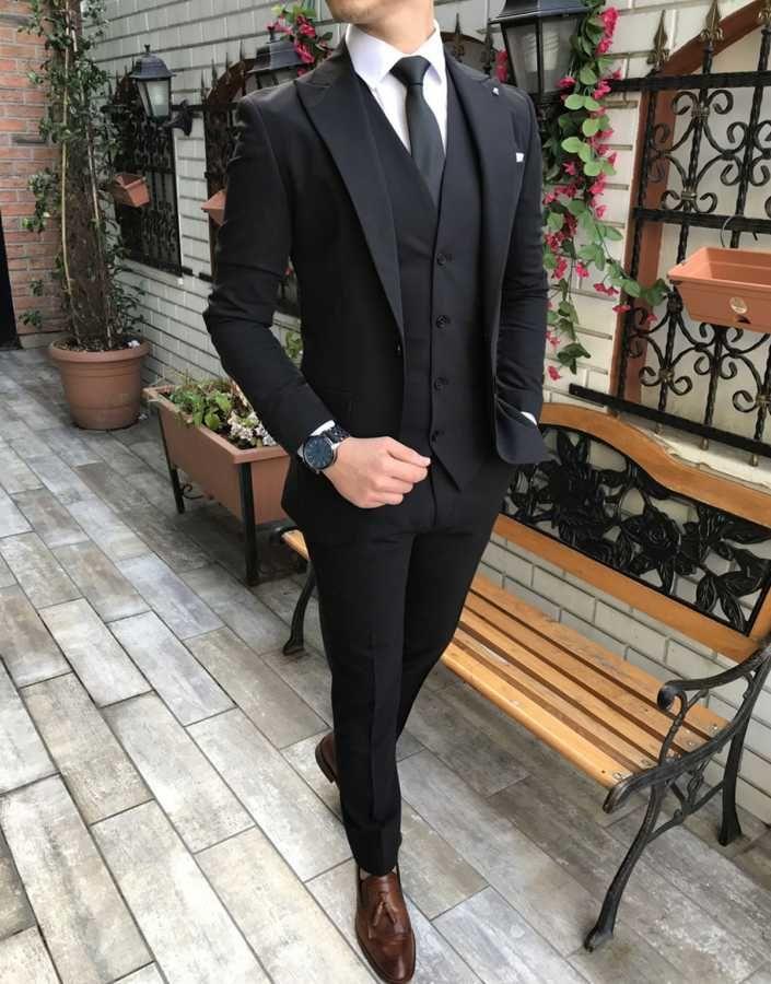 Terziademaltun Italyan Stil Slim Fit Ceket Yelek Pantolon Siyah Takim Elbise T3032 Siyah Takim Elbise Takim Elbise Erkek Giysileri
