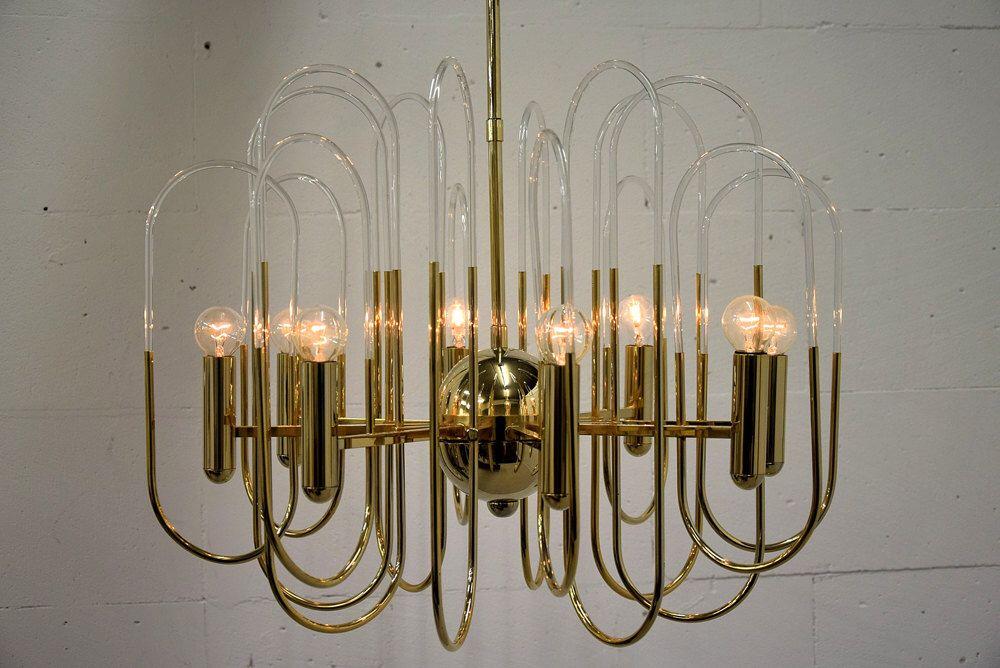 Gaetano Sciolari Brass And Glass Loop Chandelier, 8 Lights By  DesignforlivingItaly On Etsy Https:
