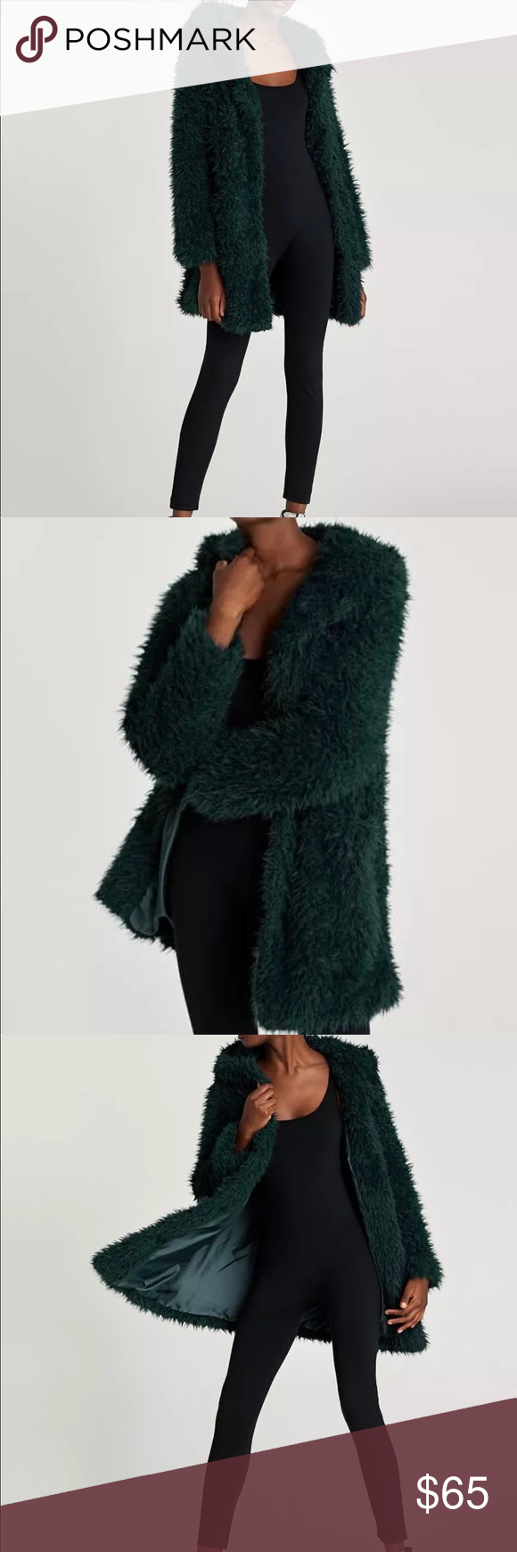 e93fe550 BNWT Zara Fluffy Jacket - Bottle Green Never worn Zara textured faux fur  short coat with hood and front pockets. Snap front button closure, 2  pockets in the ...