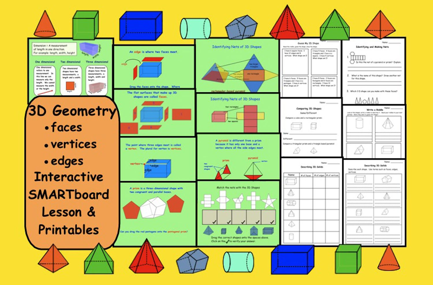 3d Geometry Faces Vertices Edges Smartboard Lesson And
