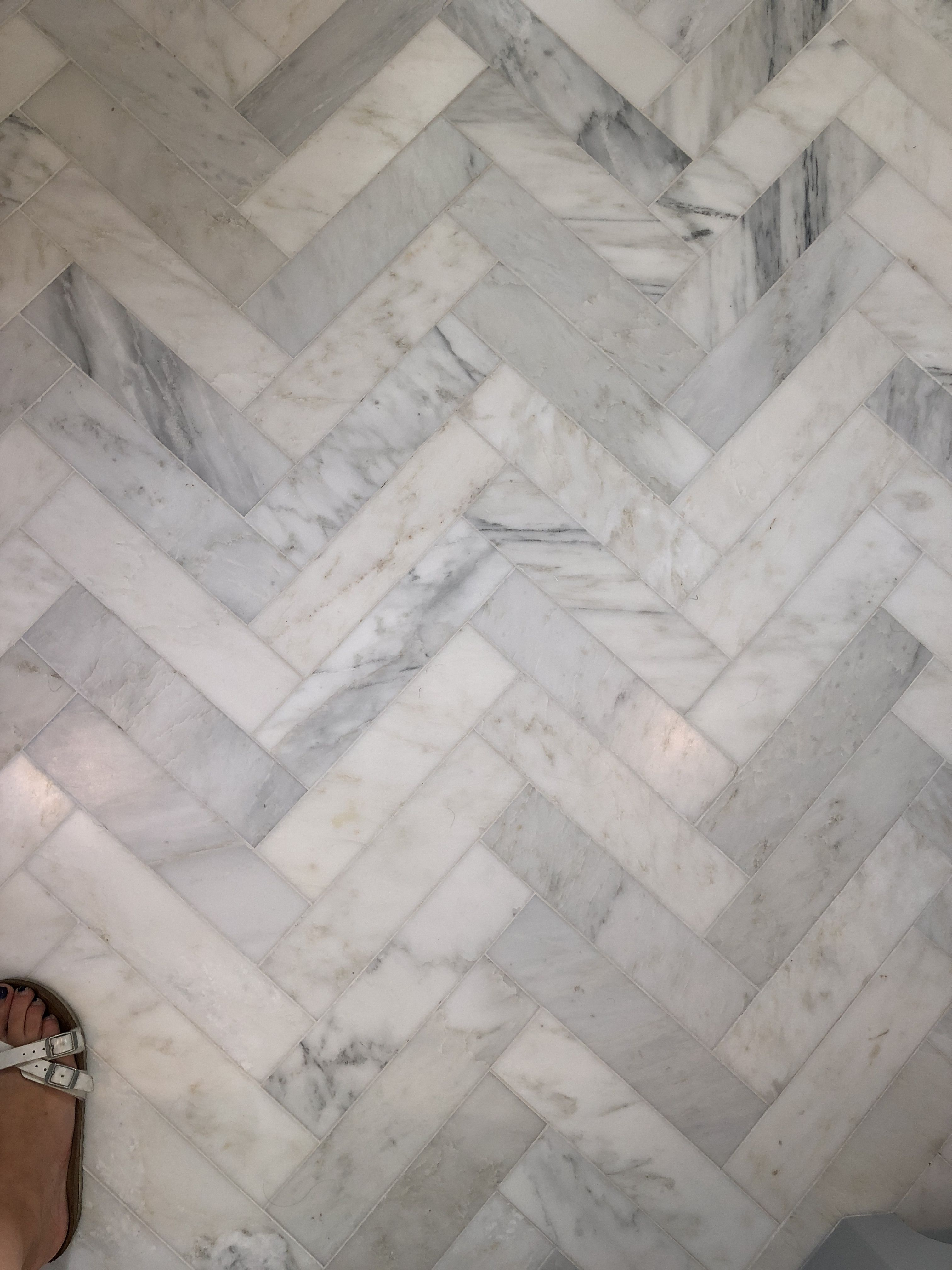 Harringbone Carrara Marble Floor Tile Apron 3 X 10 Main