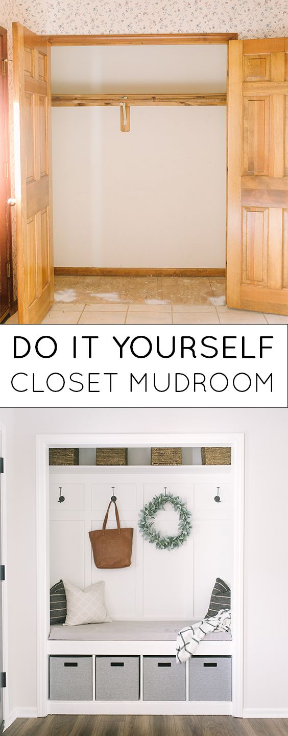 DIY Closet Mudroom. I completed this project 100% on my own, and you can too using my step by step post! www.blog.katielamb.com