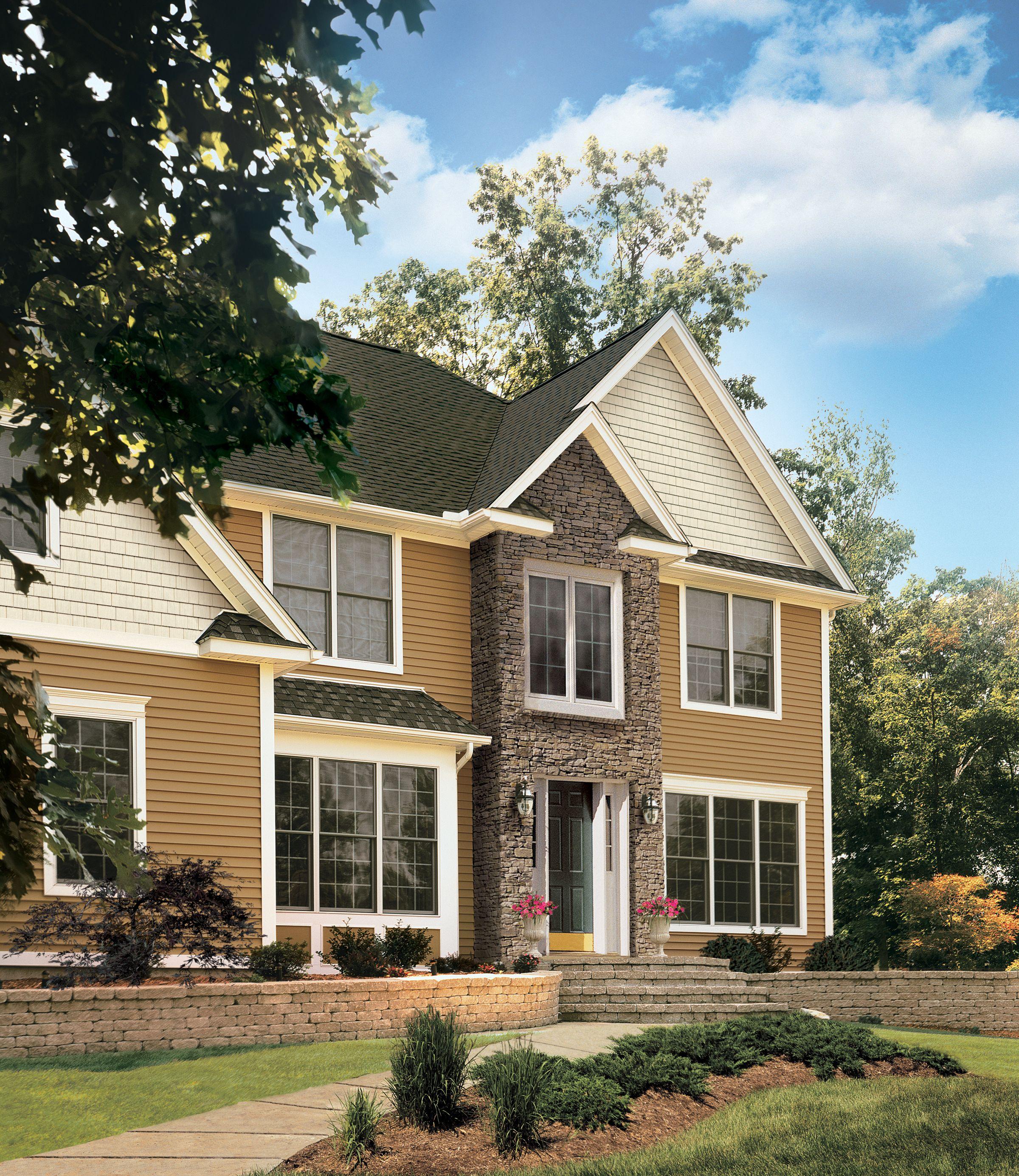 Certainteed Siding Monogram Mountain Cedar Sandstone Beige Certainteed Siding House Exterior Roofing