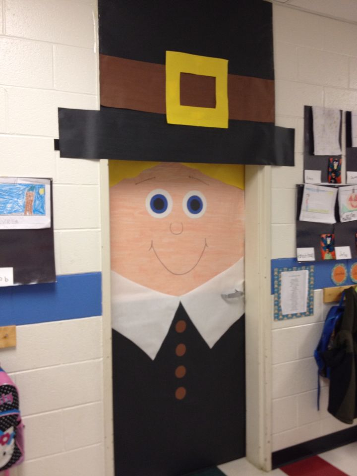 Pilgrim door | Thanksgiving | Pinterest | Classroom door ...