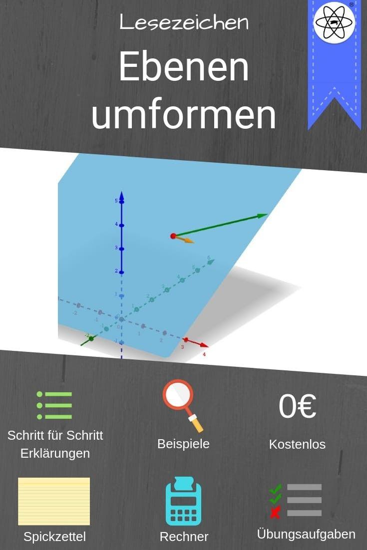 Mathematik Lesezeichen zum Umformen von Ebenen. Einfach Mathe lernen ...