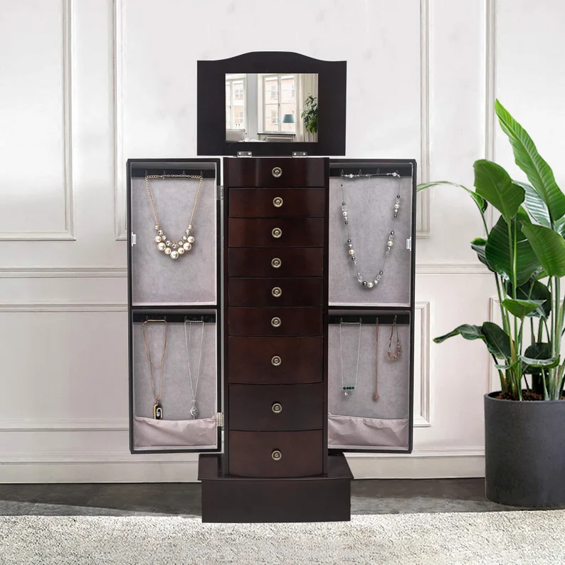 Jewelry armoire cabinet in dark brown Multifunctional | Etsy