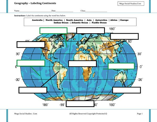 Labeling Continents and Oceans Worksheet – Continents and Oceans Worksheets