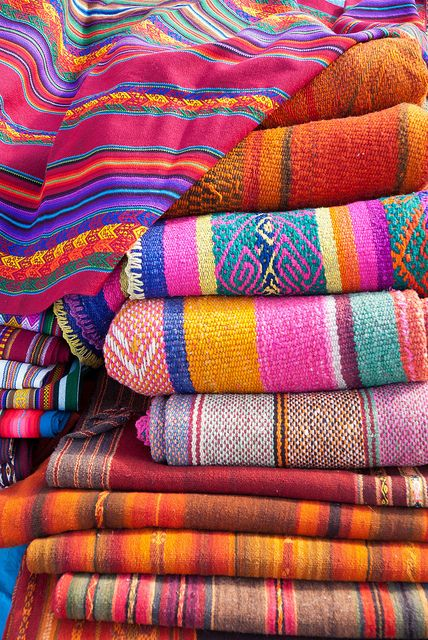Colorful textiles at the Chinchero market.