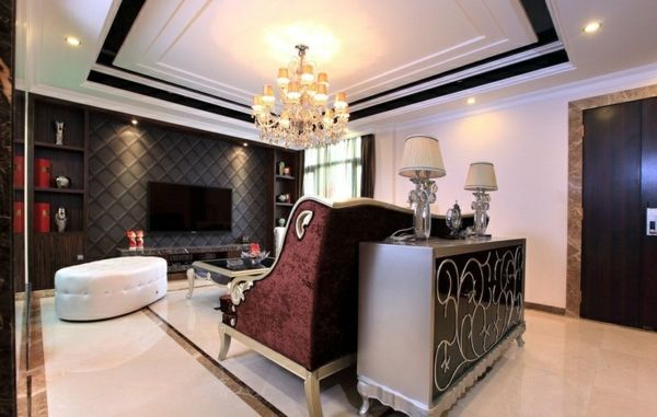 Designideen Luxus Wohnzimmer Klassisch Sitzecke Tv Schrank Wanddeko