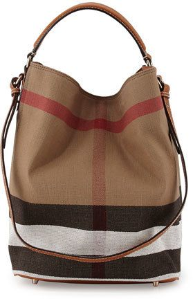 Burberry Ashby Medium Canvas Calfskin Hobo Bag, Saddle Brown   Hobo ... 923d54ce31